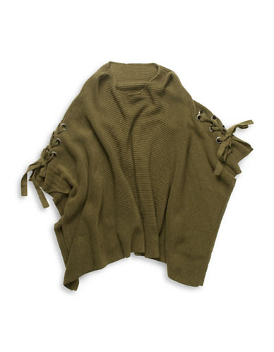 Collection 18 Grommet Tie-Up Poncho-GREEN-One Size