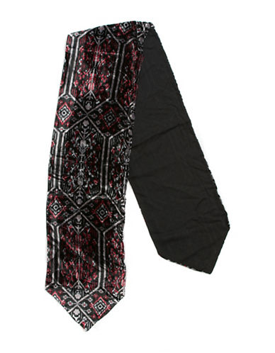 Collection 18 Ikat Velvet Slimmy Scarf-BLACK/FLORAL-One Size