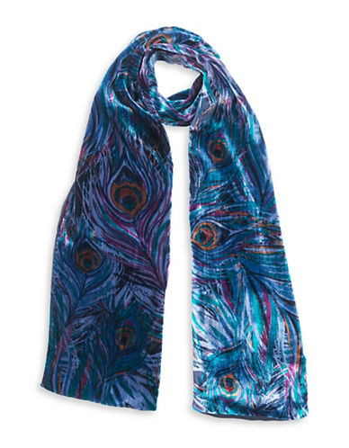 Collection 18 Peacock Velvet Scarf-BLUE-One Size