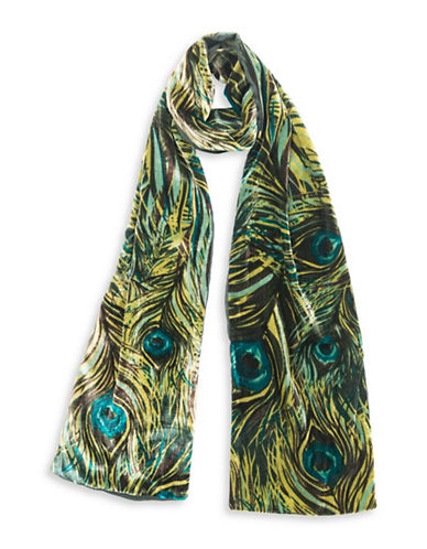 Collection 18 Peacock Velvet Scarf-PINE GREEN-One Size