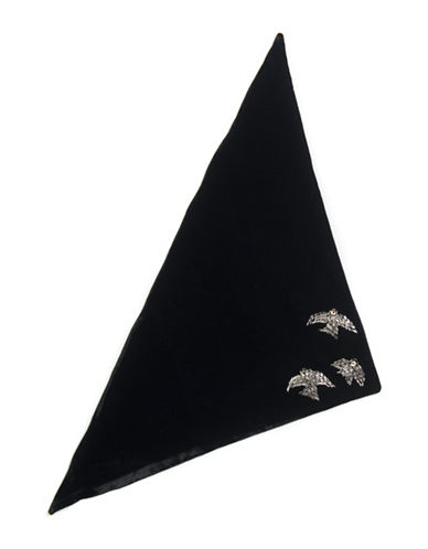 Collection 18 Garden Sparrow Velvet Triangle Bandana-BLACK-One Size
