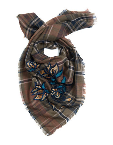 Bcbgeneration Plaid Floral Embroidered Bandana-OLIVE-One Size