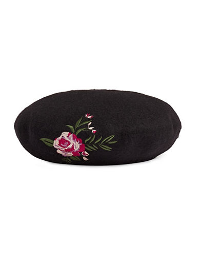 Bcbgeneration Floral Wool Beret-BLACK-One Size