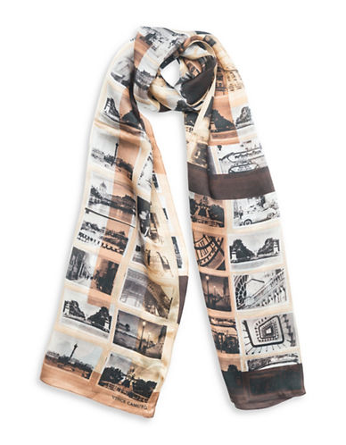 Vince Camuto Paris Attic Photographs Silk Scarf-CAMEL-One Size