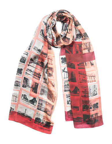 Vince Camuto Paris Attic Photographs Silk Scarf-RED-One Size