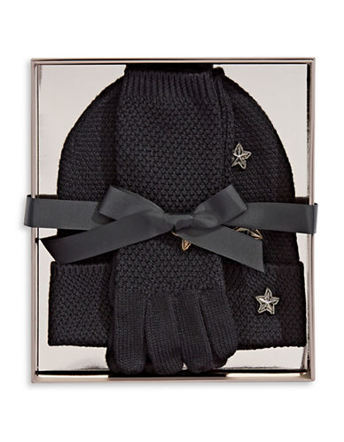 Bcbgeneration Two-Piece Gloves and Toque Set-BLACK-One Size