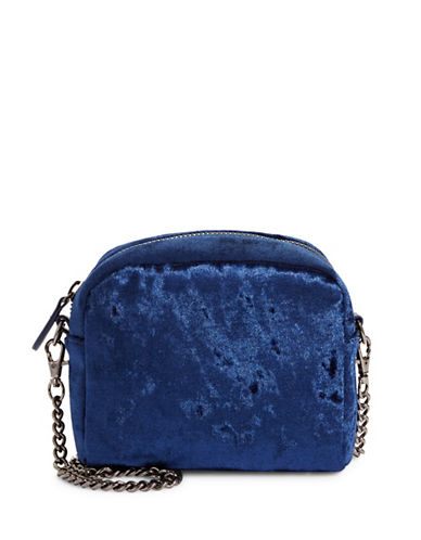 Design Lab Lord & Taylor Velvet Chain Crossbody Bag-NAVY-One Size
