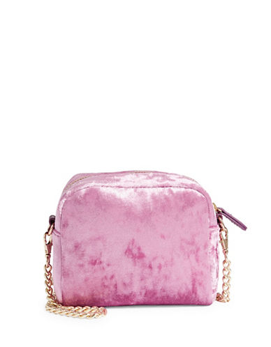 Design Lab Lord & Taylor Velvet Chain Crossbody Bag-PINK-One Size