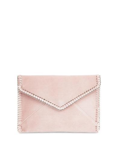 Design Lab Lord & Taylor Velvet Envelope Clutch-BLUSH-One Size