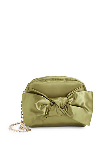 Design Lab Lord & Taylor Satin Bow Crossbody Bag-OLIVE-One Size