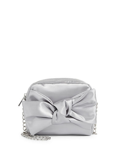 Design Lab Lord & Taylor Satin Bow Crossbody Bag-PLATINUM-One Size