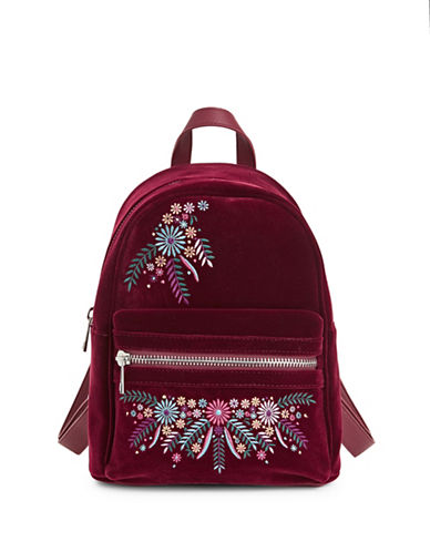 Design Lab Lord & Taylor Embroidered Mini Backpack-BURGUNDY-One Size