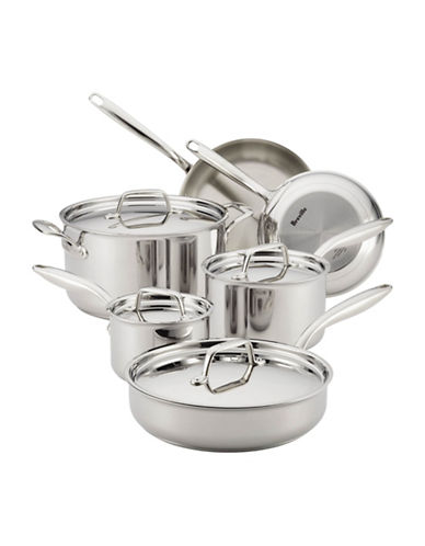 Breville Thermal Pro Tri-Ply Stainless Steel 10-Piece Cookware Set-STAINLESS STEEL-One Size