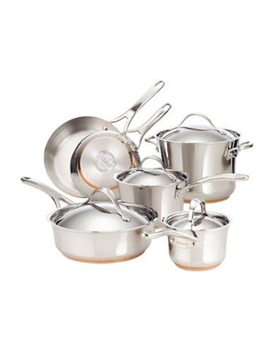 Anolon Anolon Nouvelle Stainless Steel Ten-Piece Cookware Set - Induction Ready-STAINLESS STEEL-One Size