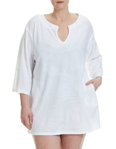J Valdi Plus Sculpted Terry Cover-Up Tunic-WHITE-1X plus size,  plus size fashion plus size appare