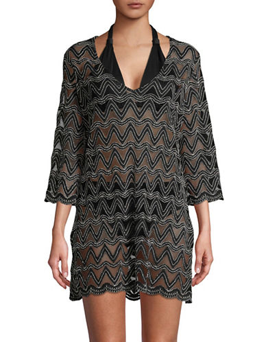 J Valdi Three-Quarter Sleeve Tunic-BLACK-Large