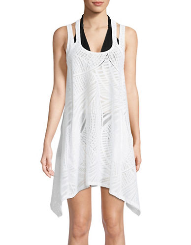 J Valdi Double-Strap Racerback Tank Dress-WHITE-Small