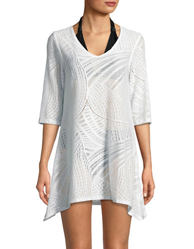 J Valdi V-Neck Shark Bite Tunic-WHITE-Small