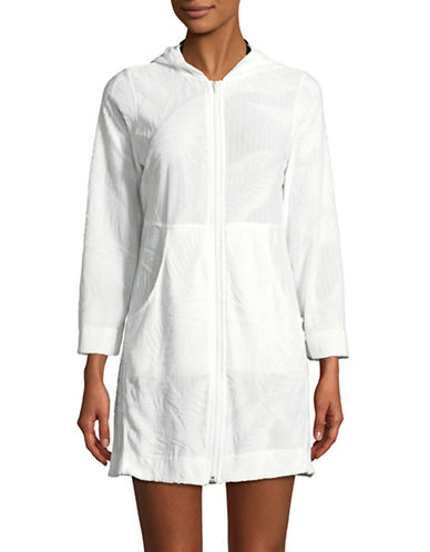 J Valdi Full-Zip Hooded Cover-Up-WHITE-X-Large