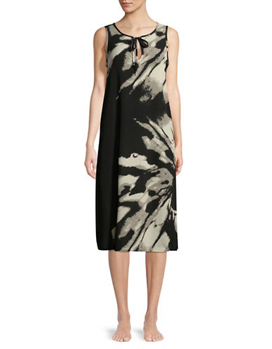 J Valdi Printed Midi Dress-BLACK-Medium
