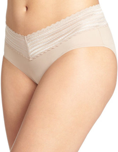 WarnerS No Pinch Lace Hipster Panty-ALMOND-Small