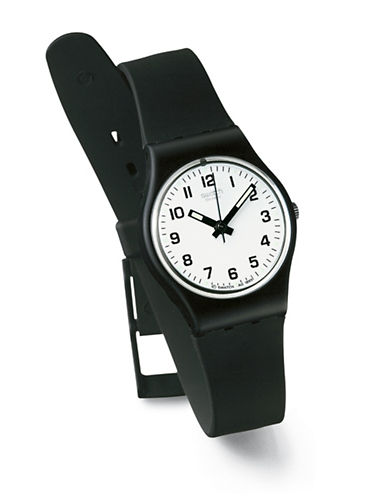 Swatch Something New Plastic Strap Watch-BLACK-One Size