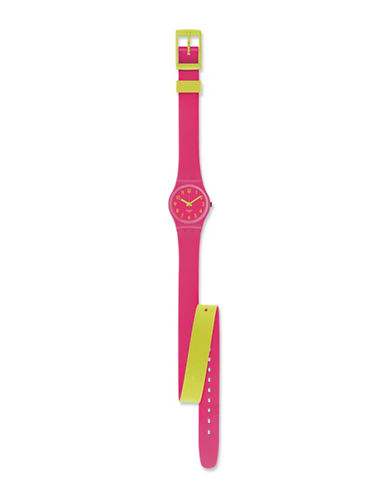 Swatch Biko Roose Silicone Strap Watch-PINK-One Size