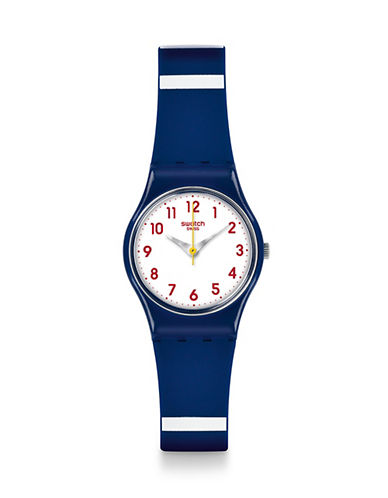 Swatch Analog Striped Silicone Watch-BLUE-One Size