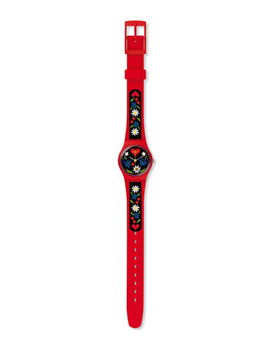 Swatch Analog Grüezi-All Roetli Silicone Watch-RED-One Size
