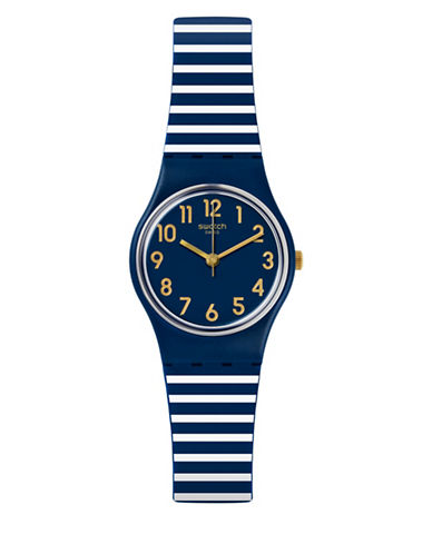 Swatch Analog A Travelers Dream Collection Printed Silicone Strap Watch-BLUE-One Size