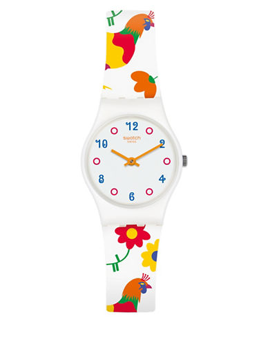Swatch Analog Polletto Silicone Strap Watch-MULTI-One Size