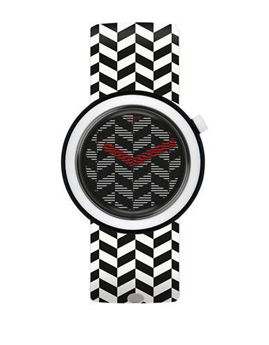 Swatch Monochrome Print Silicone Strap Analog Watch-WHITE-One Size