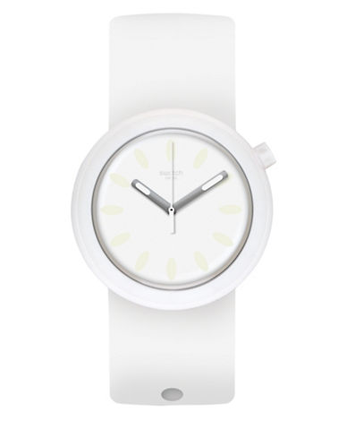 Swatch Analog Popure Silicone Strap Watch-WHITE-One Size