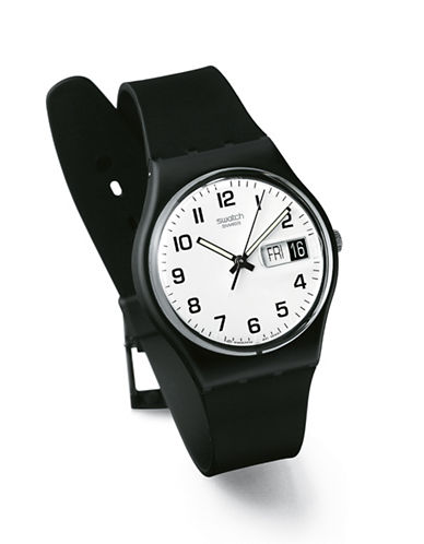 Swatch Once Again Plastic Strap Watch-BLACK-One Size