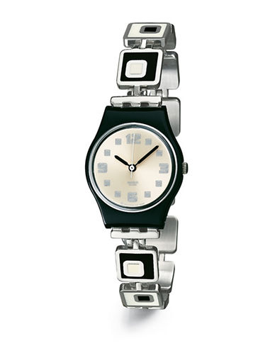 Swatch Chessboard Stainless Steel Bracelet Watch-SILVER-One Size