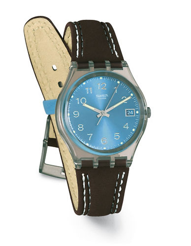 Swatch Blue Choco Leather Strap Watch-BLUE/BLACK-One Size
