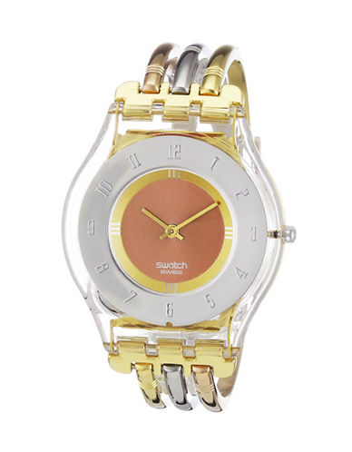 Swatch Tri-Gold S Tri-Tone Stainless Steel and Plexiglass Watch-TRI TONE-One Size