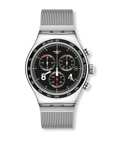 Swatch Chronograph Blackie Stainless Steel Watch-SILVER-One Size