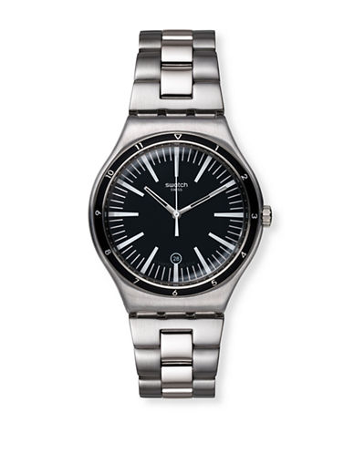 Swatch Mire Noire Stainless Steel Analog Watch-SILVER-One Size