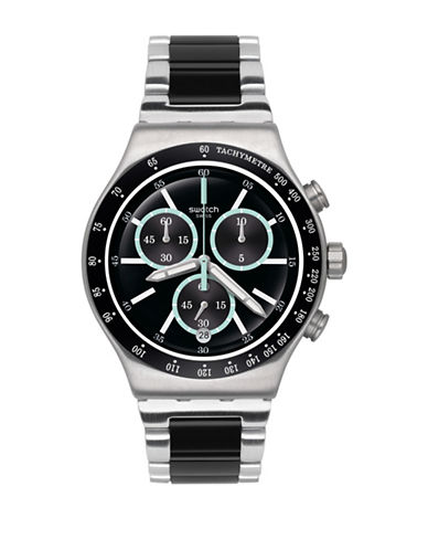 Swatch Chronograph Ironfresh Stainless Steel Bracelet Watch-BLACK-One Size