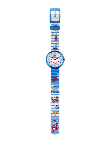 Flik Flak Youth Story Time Water Stripes Analog Strap Watch-MULTI-One Size
