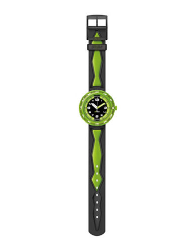 Flik Flak Youth Story Time Get It In Green Analog Strap Watch-MULTI-One Size
