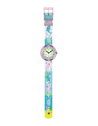 Flik Flak Youth Story Time Dolphin Analog Strap Watch-NO COLOR-One Size