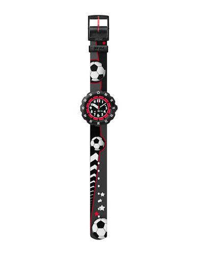 Flik Flak Soccer Star Analog Strap Watch-BLACK-One Size