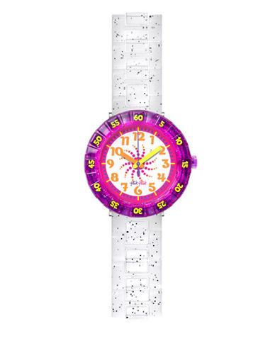Flik Flak Female Analog Fall News Collection Swirly Glitter Watch-WHITE-One Size