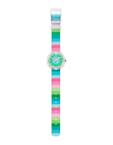 Flik Flak Striped Dreams Analog Strap Watch-MULTI-One Size