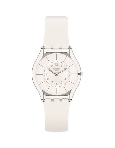 Swatch White Classiness Silicone Strap Watch-WHITE-One Size