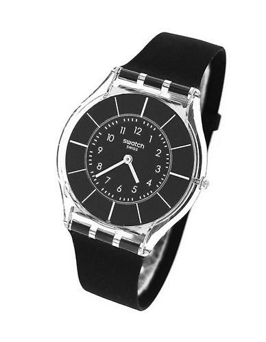 Swatch Black Classiness Silicone Strap Watch-BLACK-One Size