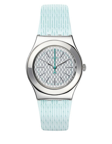 Swatch Analog Time to Swatch Collection Structured Rubber Strap Watch-BLUE-One Size