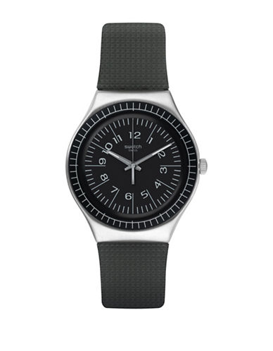Swatch Analog Time to Swatch Collection Structured Rubber Strap Watch-GREY-One Size